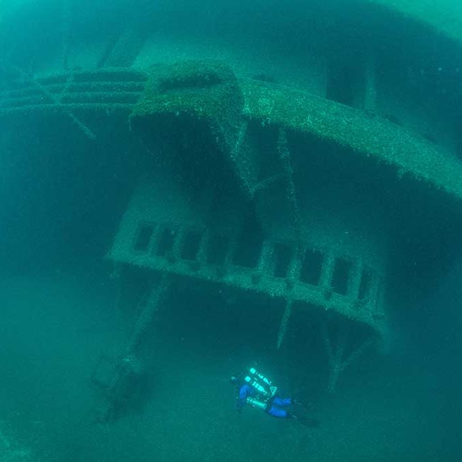 A diver explores the wreck of the Cedarville. Credit: Jitka Hanakova.